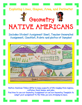 Geometry Activity NATIVE AMERICAN -Explore Lines, Shapes, Area, and Perimeter