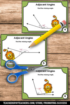 Geometry Angles Task Cards, Adjacent Angles, 7th Grade Math Review Game