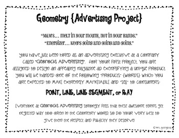Geometry Advertising Project {Point, Line, Segment & Ray}