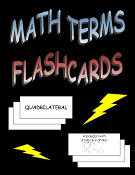 Geometry Algebra Math Terms Flashcards Word Wall Matching Game