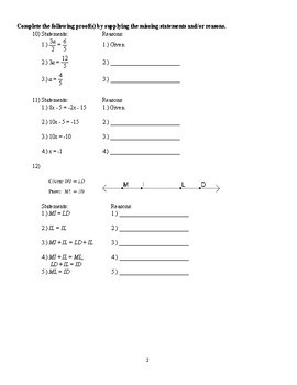 Geometry - Algebra and Proofs Worksheet (3 versions with key)