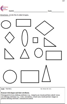Geometry All Standards - First Grade Common Core Math Worksheets