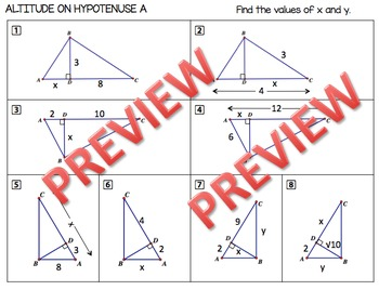 Geometry Altitude on Hypotenuse or Mean Proportional Theorem Practice Problems