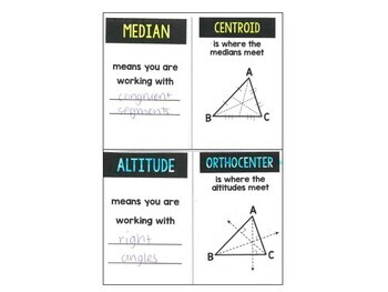 Geometry - Altitudes and Medians Foldable