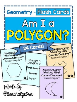 Geometry - Am I a Polygon? Set of 24 Task Cards / Flash Cards