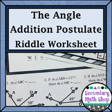 Angle Addition Postulate Riddle Worksheet