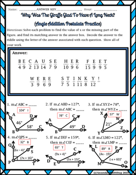 Angle Addition Postulate Riddle Worksheet by Secondary Math Shop