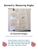 Geometry: Angle Measure Vocabulary Graphic Organizer/ Fill In