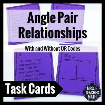 Angle Pair Relationships Task Cards