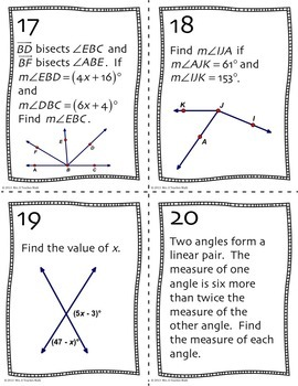 Angle Pair Relationships Task Cards by Mrs E Teaches Math ...