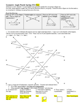 Geometry Angle Puzzle Spring 2014 with Answer Key (Editable)