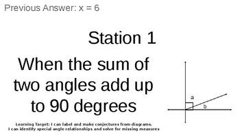 Geometry Angle Relationships Scavenger Hunt