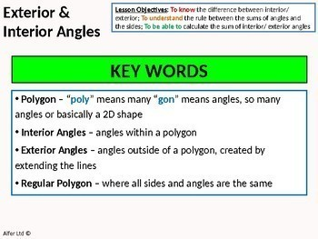 Geometry: Angle Rules 4 - Interior and Exterior Angles (introduction and sums) +