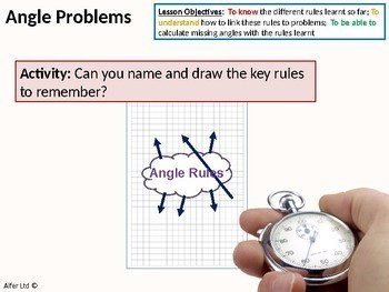 Geometry: Angle Rules 6 - Angle Problems (problem solving) + worksheet