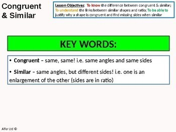 Geometry: Angle Rules 7 - Congruent and Similar Triangles / Shapes (+ worksheet)