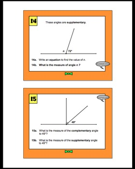 Geometry Angle Task Cards (Set 1)-Supplementary, Complementary, & missing angles