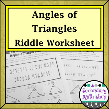 Triangles - Angles of Triangles Riddle Worksheet