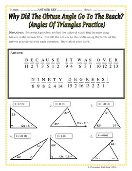 triangles angles of triangles riddle worksheet by secondary math shop. Black Bedroom Furniture Sets. Home Design Ideas