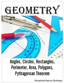 Geometry: Angles, Circles, Perimeter, Area, Polygons, Pythagorean Theorem