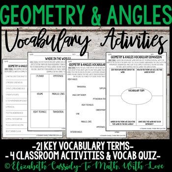 Geometry & Angles Vocabulary - Activities & Quiz - 8th Grade