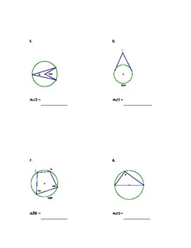 Geometry Angles and Arcs Circle Quiz