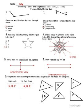 Geometry - Angles and Lines - Focused Daily Review - 4th Grade