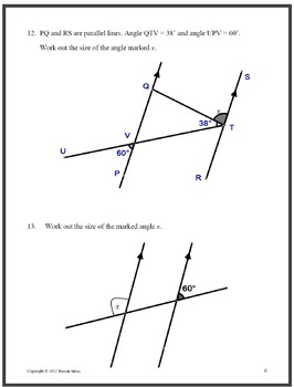 Geometry Angles associated with parallel lines, polygons, details below