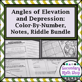 Right Triangle - Angles of Elevation & Depression Notes, Practice, Riddle Bundle