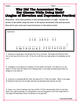 Right Triangles -  Angles of Elevation and Depression Riddle Practice Worksheet
