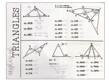 Geometry - Angles of Triangles - Interior Angle Sum and Exterior Angle Foldable
