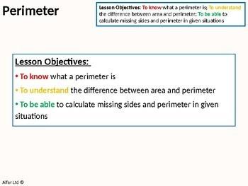 Geometry: Area 1 - Perimeter of Shapes (+ worksheet)