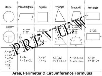 Geometry Area Perimeter Circumference Formulas Foldable Interactive Notebook