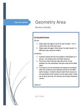 Geometry Area Review - Jokes Activity