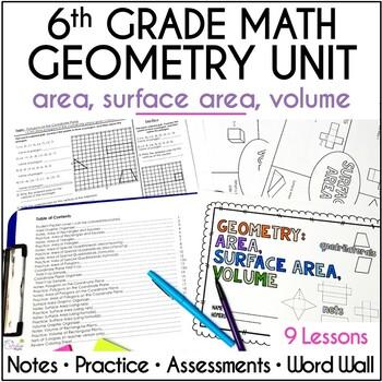 Geometry - Area, Surface Area, Volume Unit for Grade 6