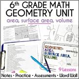 6th Grade Math Geometry Unit - Area, Surface Area, Volume, Editable
