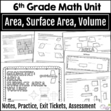 6th Grade Math Geometry Unit - Area, Surface Area, Volume, Editable