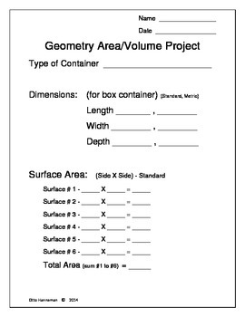 Geometry Area & Volume Project for Middle School