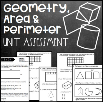 Geometry, Area, and Perimeter Unit Assessment