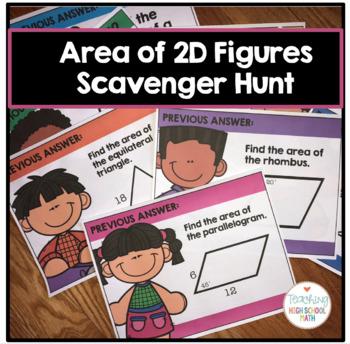 Geometry Area of 2D Figures Scavenger Hunt