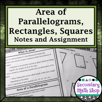 Area -  Area of Parallelograms, Rectangles and Squares Notes and Assignment