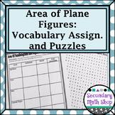 Area - Unit 10: Area of Parallelograms & Regular Polygons Vocab Assig. & Puzzles