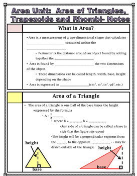 Area -  Area of Triangles, Trapezoids and Rhombi Notes and Assignment