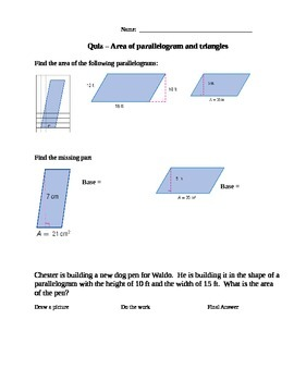 Area of Triangles and Parallelograms Quiz
