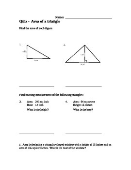 Area of a Triangle Quiz