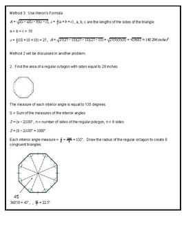 Geometry - Areas of Regular Polygons