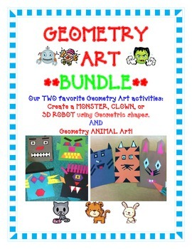 Geometry Art Activity BUNDLE- Create a Monster, Clown, 3D Robot or ANIMALS