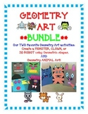 Geometry Art Activity BUNDLE- Create a Monster, Clown, 3D Robot or ANIMALS