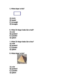 Geometry Assessment 2D and 3D Shapes - 2.G.1