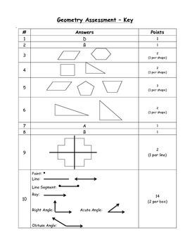 Geometry Assessment - 4th Grade Math Common Core