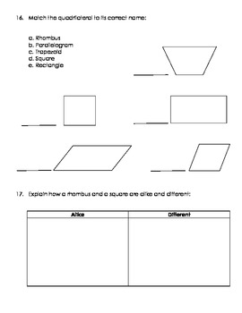 Geometry Assessment Grade 3